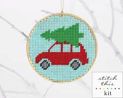 christmas ornament needlepoint kit diy bringing home the tree