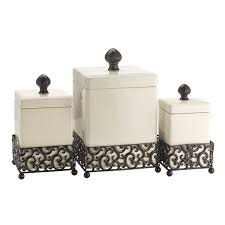 ceramic canisters sets for the kitchen home essentials 69461 pressed metal danbury square