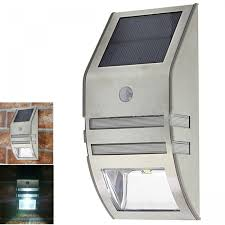 solar powered outdoor wall led light with motion sensor silver