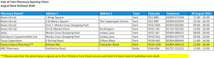pharmacy opening hours in york today bank monday cllr