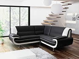 BRAND NEW KARA OLAF FAUX LEATHER CORNER SOFA BLACK AND WHITE By - Corner sofa design