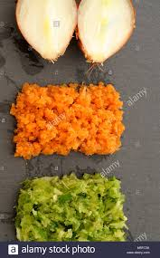 mirepoix cuisine mirepoix tricolor vegetables arranged on slate black plate concept
