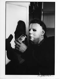 a candid shot from the set of the original halloween of michael