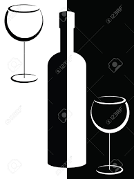 wine vector black and white bottle and wine glasses royalty free cliparts
