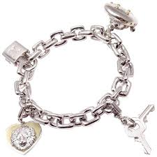 white gold bracelet with charm images Louis vuitton charm link white gold bracelet with charms at 1stdibs jpg