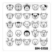 nail art stamping plates fuzzy and ferocious bm s158 emoji