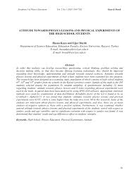 attitudes towards physics lessons and physical experiements of the