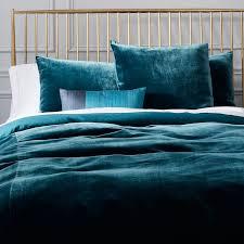 Green And Blue Duvet Covers Luxe Velvet Duvet Cover Shams West Elm