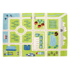 Green Kids Rug Kids U0027 Rugs Kids Town Activity Rug Features Roads Trees