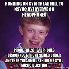 Nsync Meme - running on gym treadmill to nsync byebyebye on headphones phone