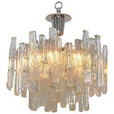 Vintage Glass Chandelier Vintage Kalmar Ice Glass Chandelier At 1stdibs