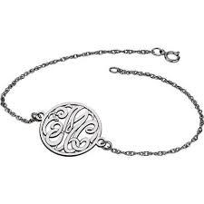 monogram bracelet silver letter script monogram bracelet