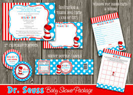 dr seuss baby shower invitations printable dr seuss baby shower party package decorations cat
