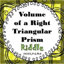 finding volume of a right triangular prism riddle activity