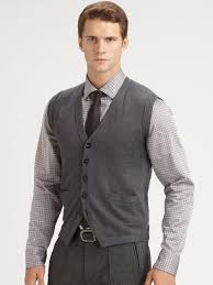 mens sweater vests armani wool sweater vest in gray for grey lyst s