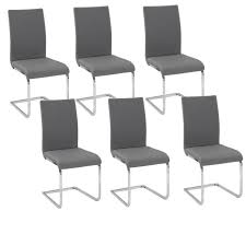 lea lot de 6 chaises de salle à manger grises achat vente chaise