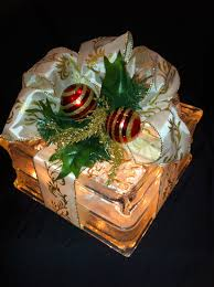 gift wrapped lighted glass block bow with by amandayoung5