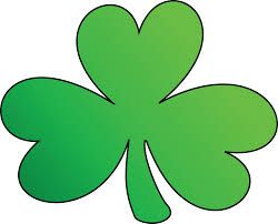 clipart of a green outlined clover shamrock st patricks day