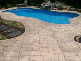 Cantilevered Deck by Stamped Concrete Swimming Pool Pool Deck With Complete Color