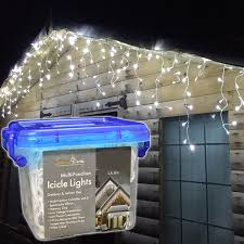 White Icicle Lights Outdoor Snowtime 400 White Led Snowing Icicle Lights White Co Uk