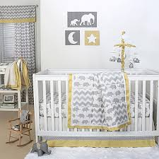 Grey And Yellow Crib Bedding The Peanut Shell Crib Bedding Collection In Grey Yellow Buybuy Baby