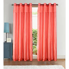 Coral Blackout Curtains Rugs Curtains Modern Faux Silk Panel Coral Blackout