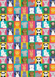 animal friends wrapping paper 5 sheets dotcomgiftshop