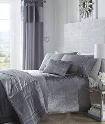 Luxury Grey Curtains Bedding Luxury Crushed Velvet Panel Duvet Cover Bedding Set