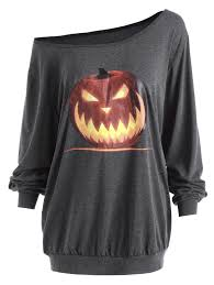 Halloween T Shirts by T Shirts Deep Gray 5xl Plus Size Skew Neck Halloween Angry