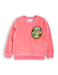 fox pink sweatshirt in velour mini rodini