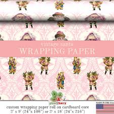 custom gift wrapping paper santa pink christmas wrapping paper roll pink vintage
