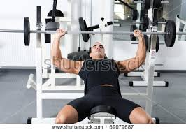 Crazy Bench Press Young Bodybuilder Training Gym Chest Barbell Stock Photo 69079687