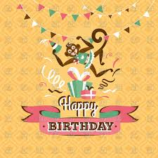 free birthday greetings happy birthday greeting card with monkey royalty free vector clip