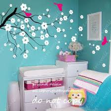 Cherry Blossom Tree Wall Decal For Nursery White Tree Wall Decor Cyclingheroes Info