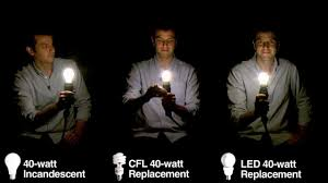 light bulb lineup comparing incandescent bulbs with cfls and leds