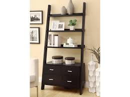 coaster bookcases leaning ladder bookshelf with 2 drawers dunk