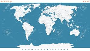 World Map Countries Steel Blue World Map And Navigation Icons Illustration Highly