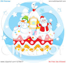 clipart of a festive christmas cake with santa claus a snowman
