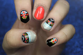 colorful tribal manicure nail art