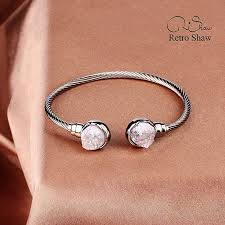 white gold crystal bracelet images Retro shaw natural crystal bracelet white gold plated bangle jpg