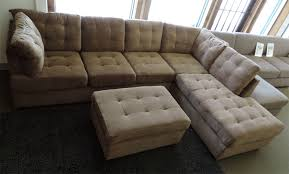 High Back Sectional Sofas by Burbank Truffle Waffle Suede High Back Sectional Sofa At Gowfb Ca