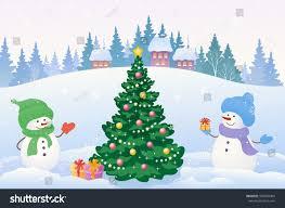 vector cartoon drawing snowy scene stock vector 509858404