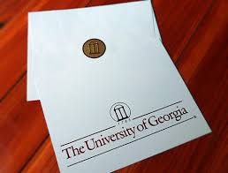 grad announcement cards uga graduation announcement gold foil on soft ivory with
