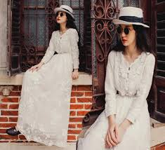 long casual winter dress new fashion floral elegant embroidery