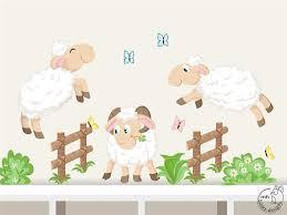stickers mouton chambre bébé stickers muraux enfants mouton de saut chambre enfants