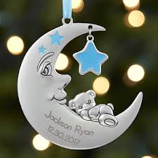 baby boy ornament personalized moon