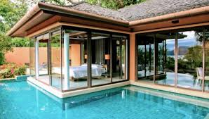 bedroom infinity pool design with water and wooden frame on