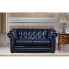 Blue Leather Chesterfield Sofa Nebraska Navy Blue Genuine Rubbed Leather Chesterfield Sofa