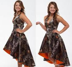 2016 cheap camo short bridesmaid dresses summer halter orange hi