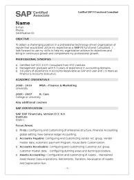 sap fico sample resume sample fresher resume of sap fi certified sap se accounting